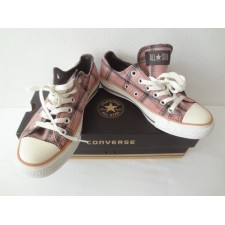 WOMEN SIZE 7 PLAID PINK AND BROWN   LOW TOP